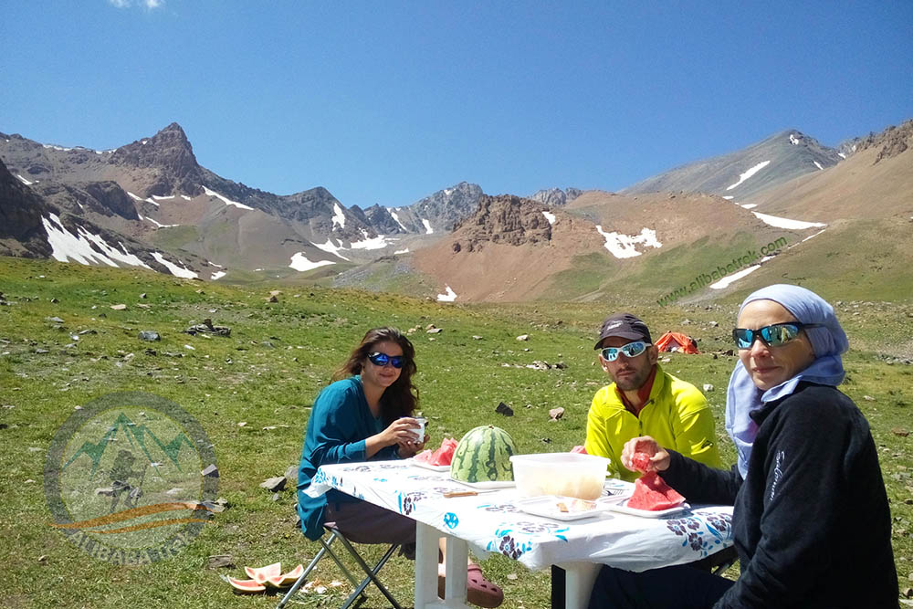 Enjoy chilling out and eating watermelon at the base camp, 3650 m