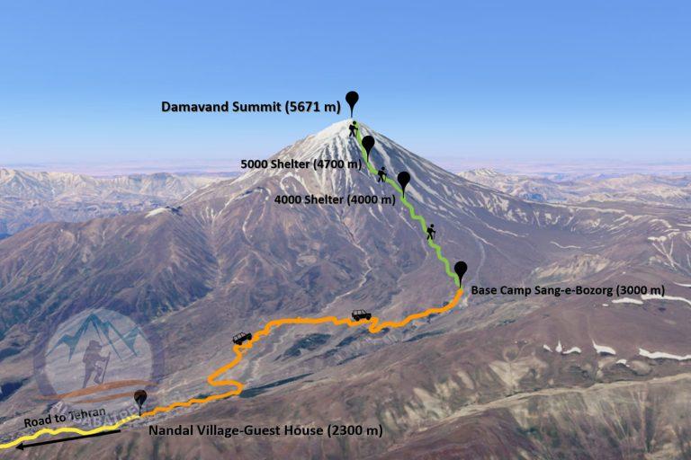 Climb damavand trek damavnad routs north route