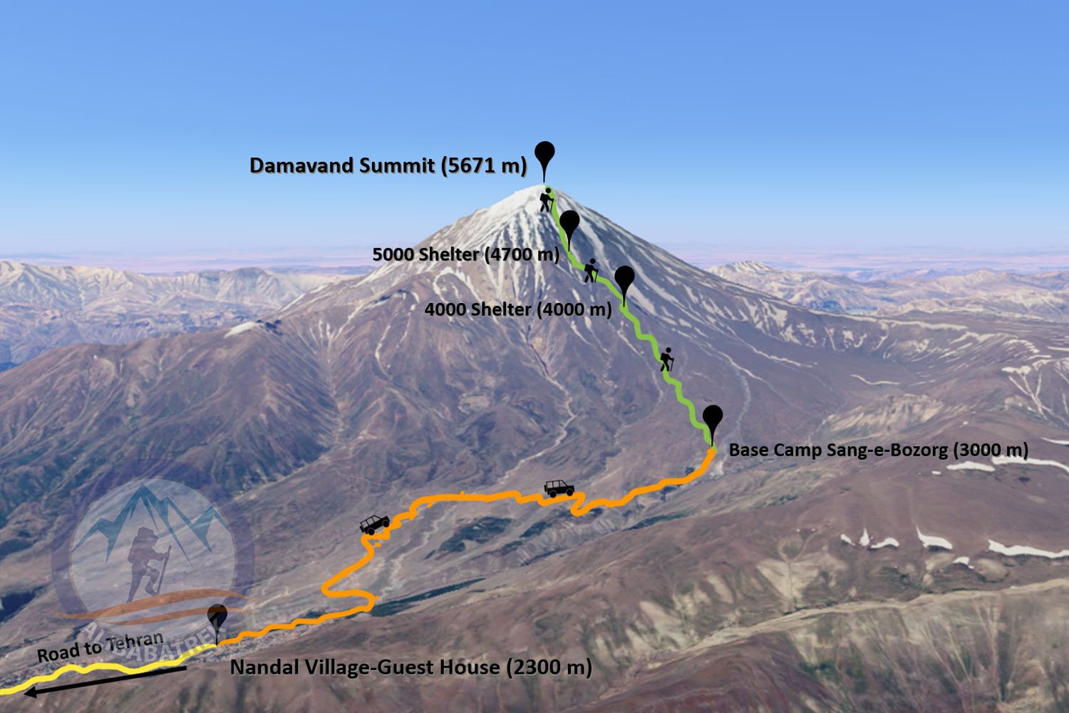 Climb damavand trek damavnad routs north route