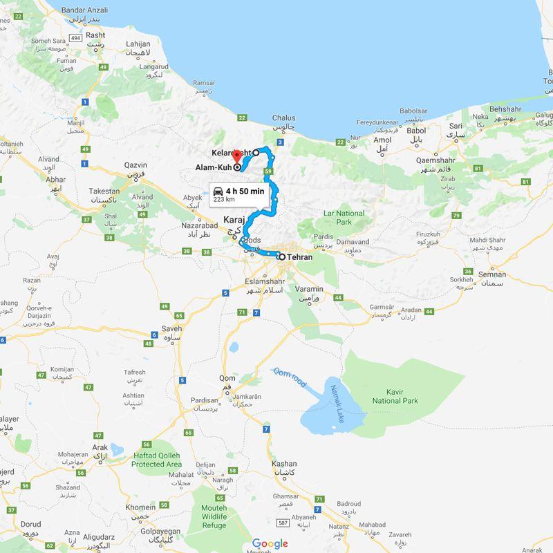 Alibabatrek iran tour Alamkuh Ski Touring trip map