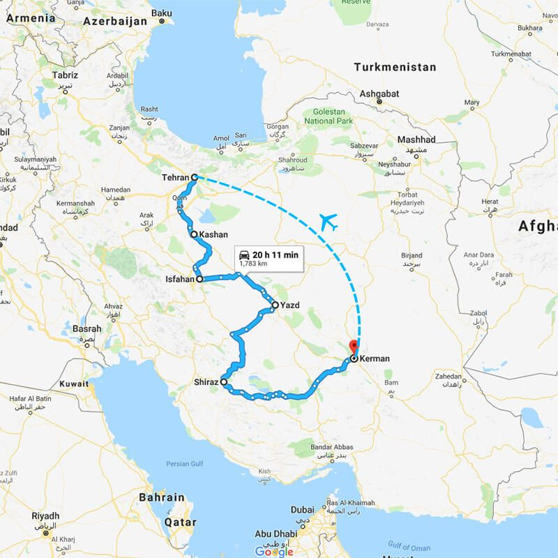 Alibabatrek iran tour COMPREHENSIVE CULTURE TOUR IN IRAN TRIP MAP