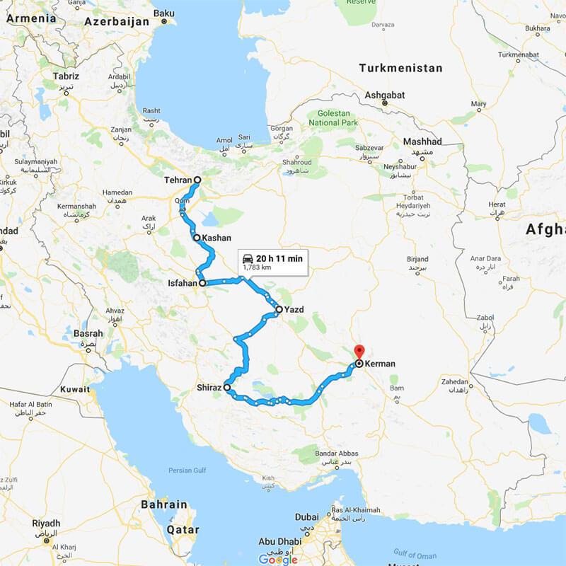 Alibabatrek iran tour COMPREHENSIVE CULTURE TOUR IN IRAN TRIP MAP