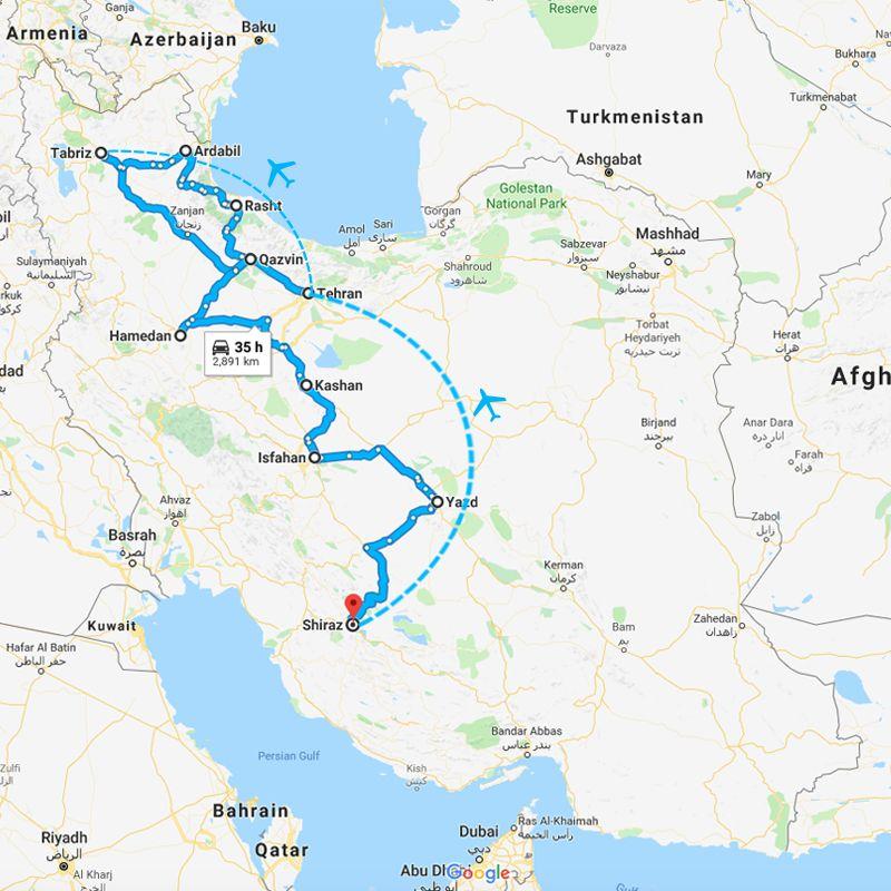 Alibabatrek iran tour Iran journey in depth trip map