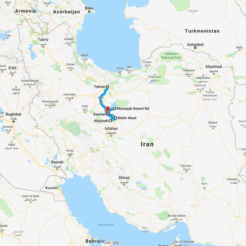 Alibabatrek iran tour Kashan Desert Tour, Safari Iran trip map