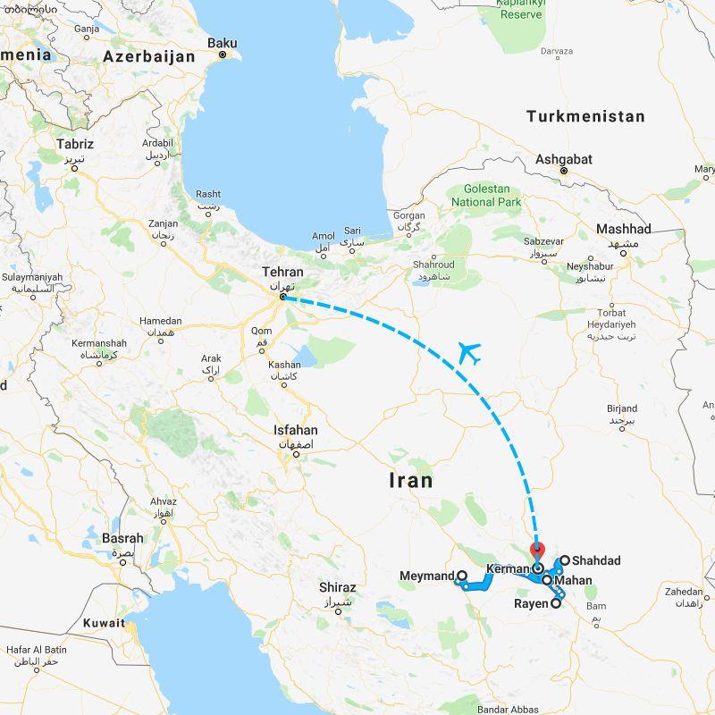 Alibabatrek iran tour Kashan Desert Tour, Safari Iran_ trip map
