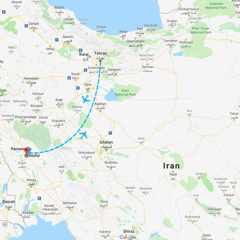 Alibabatrek iran tour Mysterious Dez Island trip map