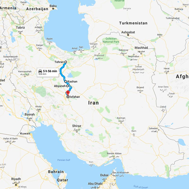 Alibabatrek iran tour Optimized Persia Tour; Iran Sightseeing trip map