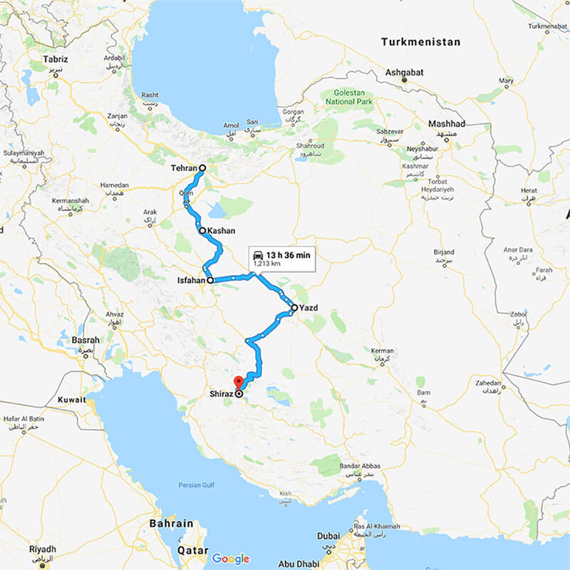Alibabatrek iran tour PERSIA TRAVEL; EXCLUSIVE CULTURE OF PERSIA trip map