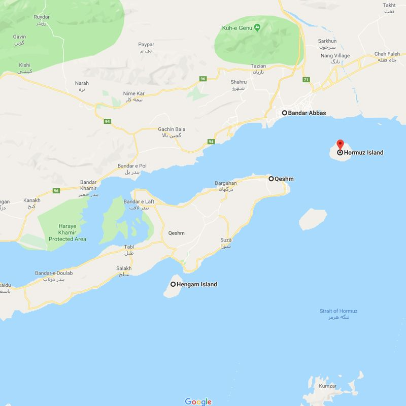 Alibabatrek iran tour Pearls of the Persian Gulf trip map