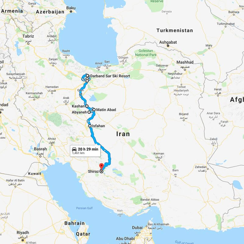 Alibabatrek iran tour Ski By Ancient Persia trip map