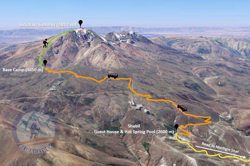 Alibabatrek iran tour sabalan trekking tour trip map