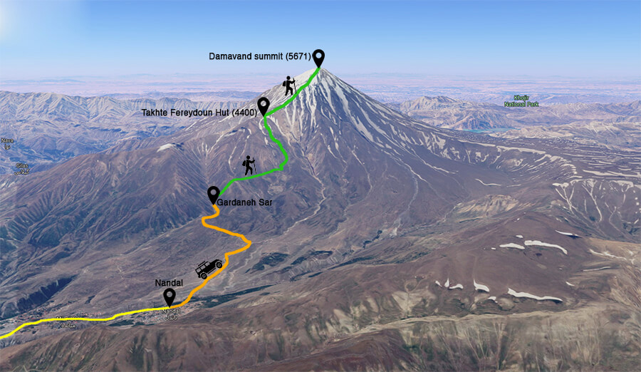 alibabatrek damavand tour damavand trekking route north east route