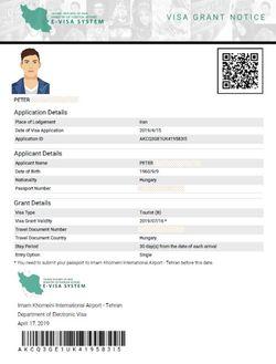 Iran visa grant Iran visa authorization code