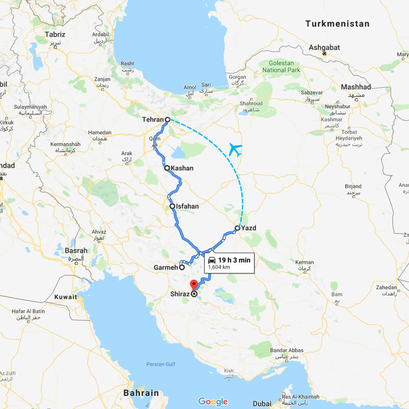 Alibabatrek iran deserts and culture tour trip map