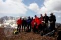 Summit of mount Lashgarak (4250m), Alamkooh at the back of the team!